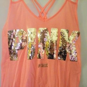 Coral and Rose Gold VS Pink tank top